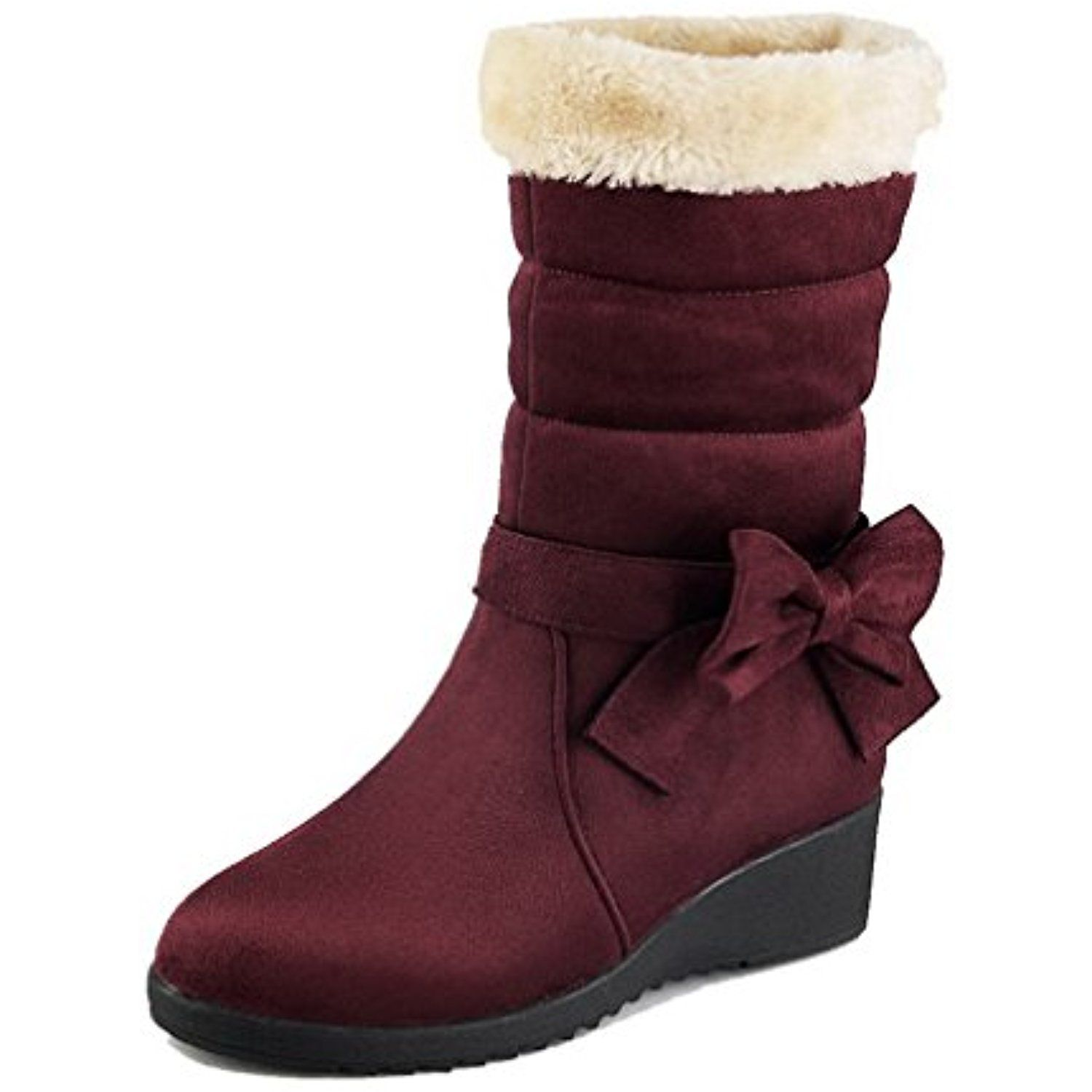 Women's Frosted Round Closed Toe Solid Low Top Kitten Heels Boots