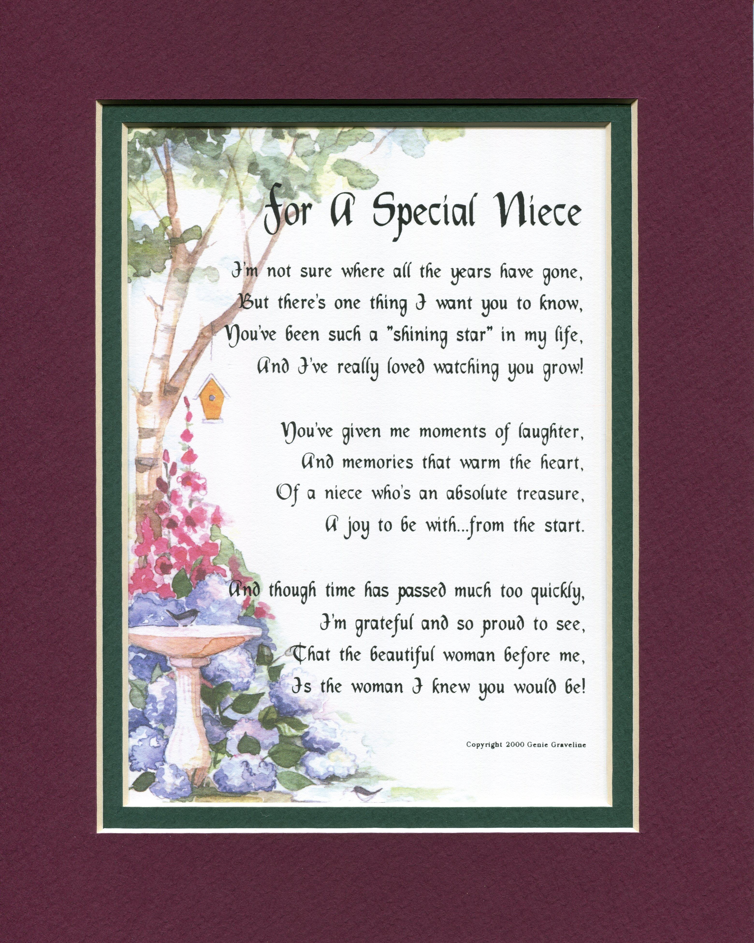 For A Special Niece Other Family Members Genies Poems Niece Quotes Birthday Poems 40th