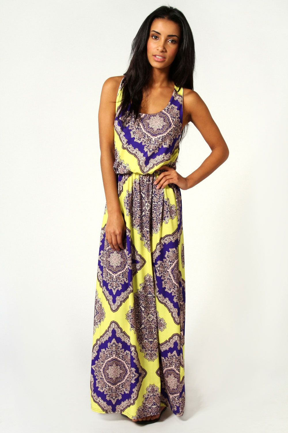 boohoo Rosie Neon Paisley Twist Back Maxi Dress - multi by @Elena Kovyrzina Rudaya