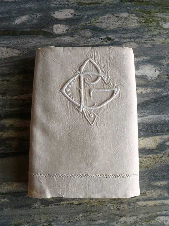Metis linen sheet unused with monogram PG and hand by Frenchidyll