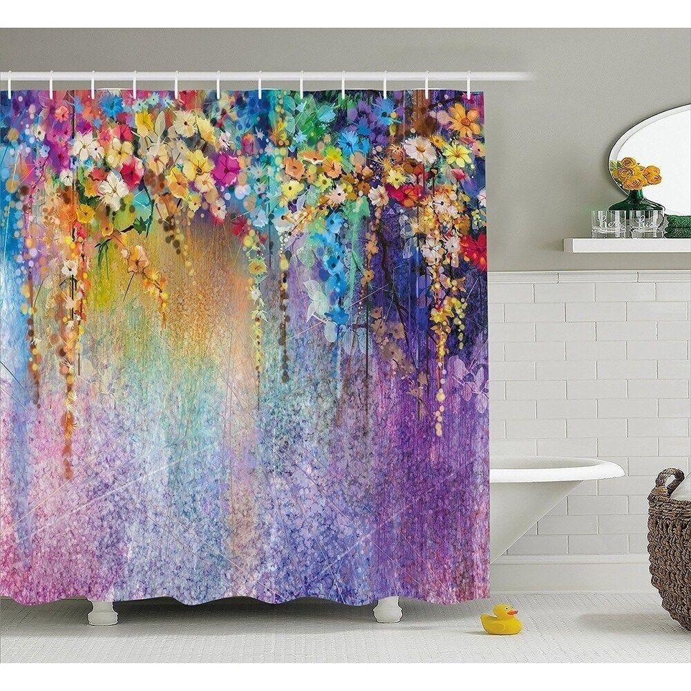 Manggou Fabric Shower Curtain Japanese Style Flowers Shower