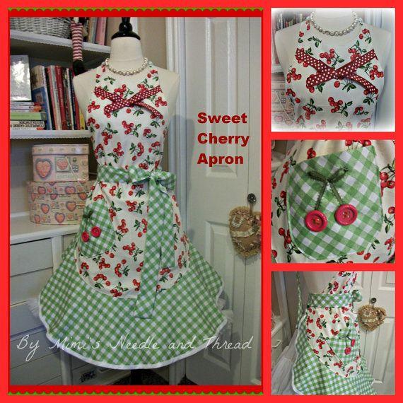 Retro Sweet Cherry  handmade Apron by mimisneedle on Etsy