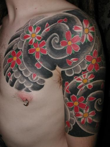 japanese flower tattoo over shoulder and chest japanese tattoo pinterest japanese flower. Black Bedroom Furniture Sets. Home Design Ideas