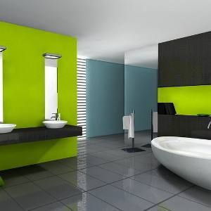 Bright And Modern Bathroom Bold Interior Paint Ideas Pinterest