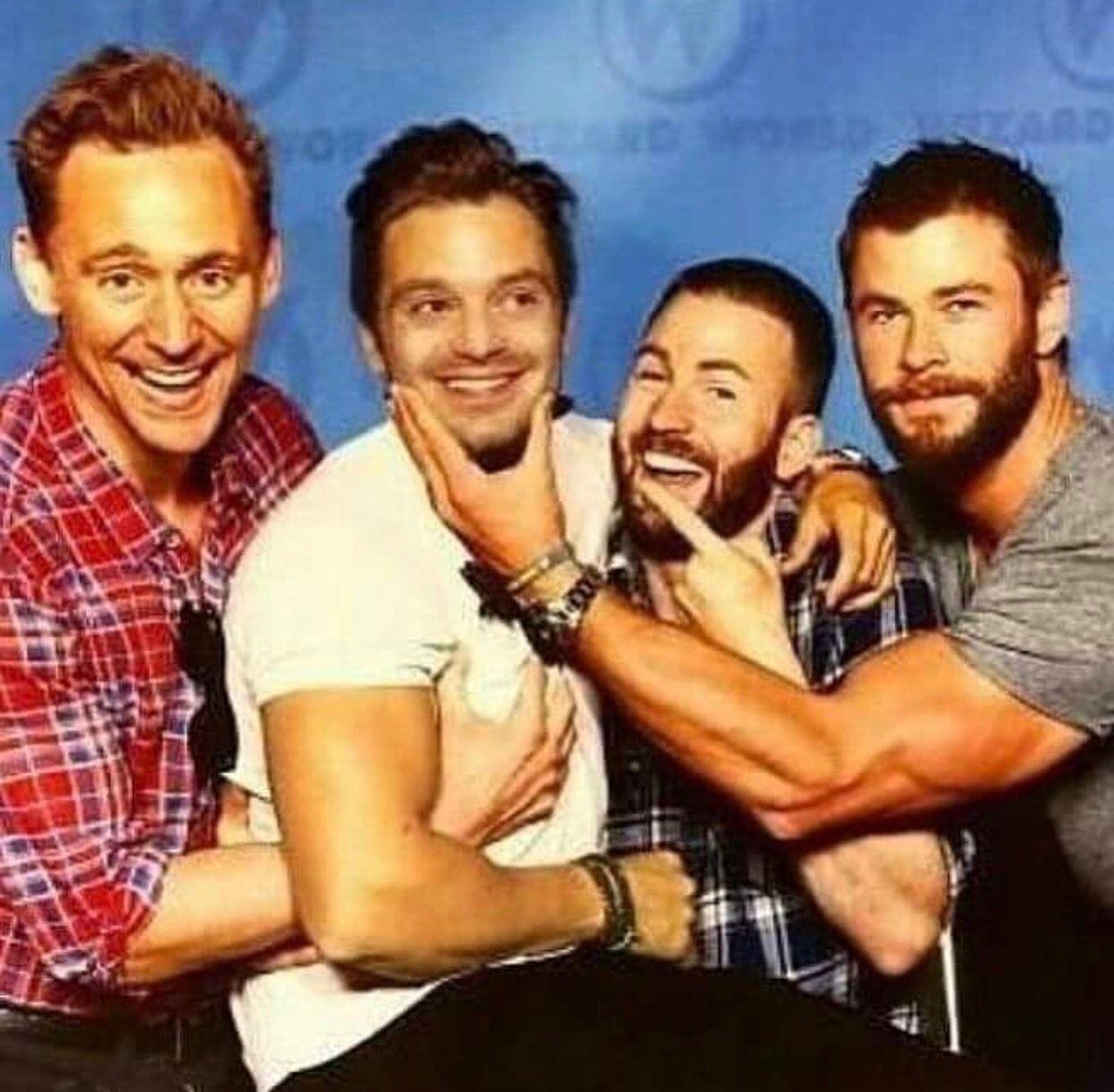 Tom Hiddleston, Sebastian Stan, Chris Evans and Chris Hemsworth WAS THIS A DOUBLE DATE?!xD