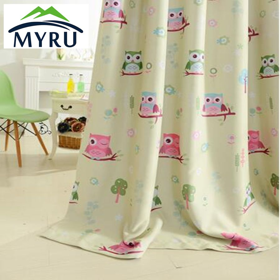2017 cartoon owl shade blinds finished window blackout curtains for ...