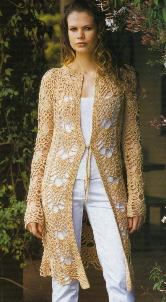 Chaqueta Larga Abrigo Crochet Patron | crochet | Pinterest ...