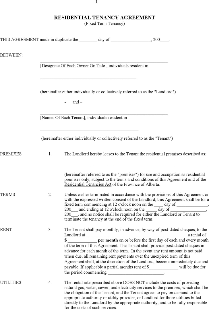 Alberta Residential Tenancy Agreement Form In 2020 Lease Agreement Free Printable Being A Landlord Tenancy Agreement