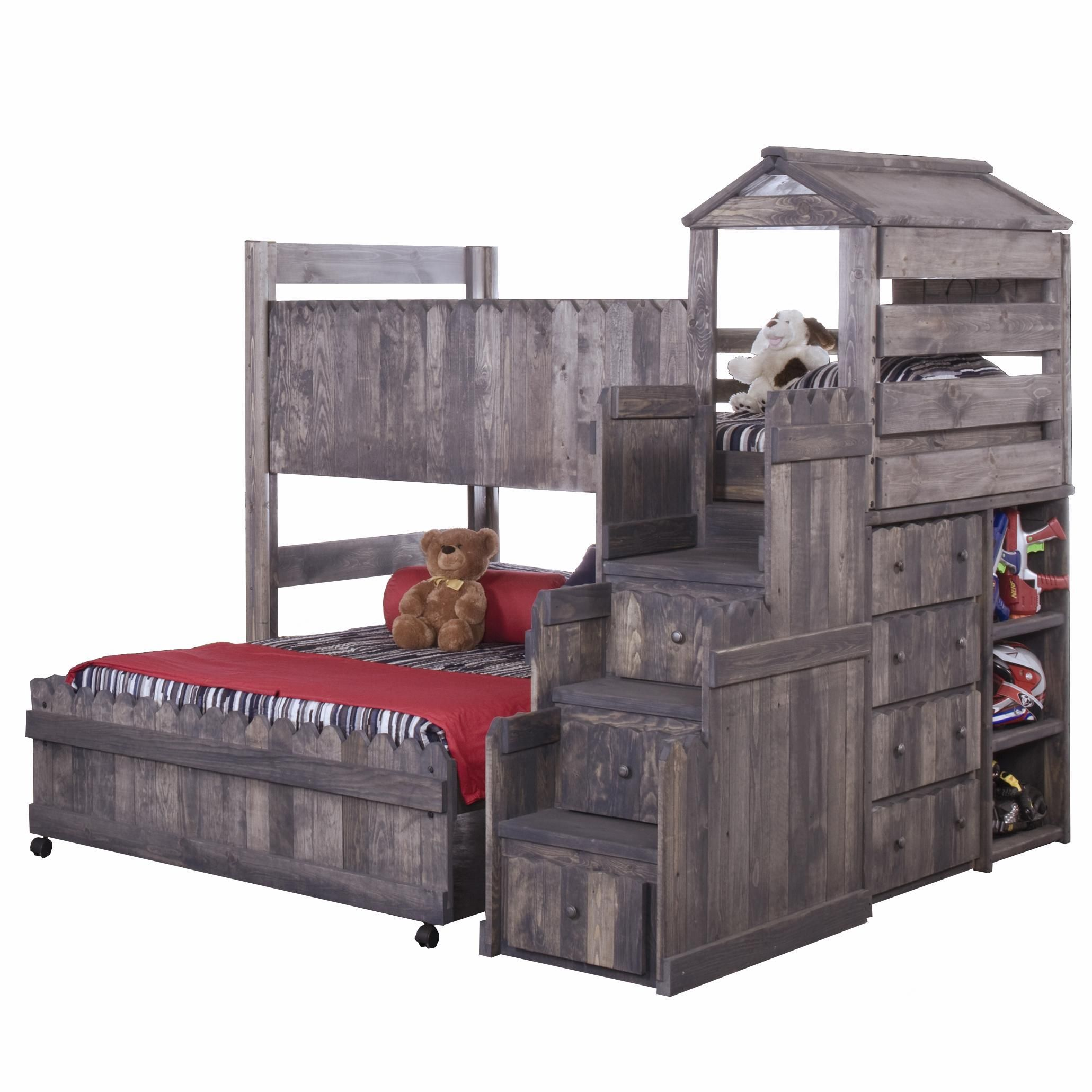 Boys' twin loft bed with storage steps  The Fort TwinFull Complete Loft Fort Bed with Stairway Chest by