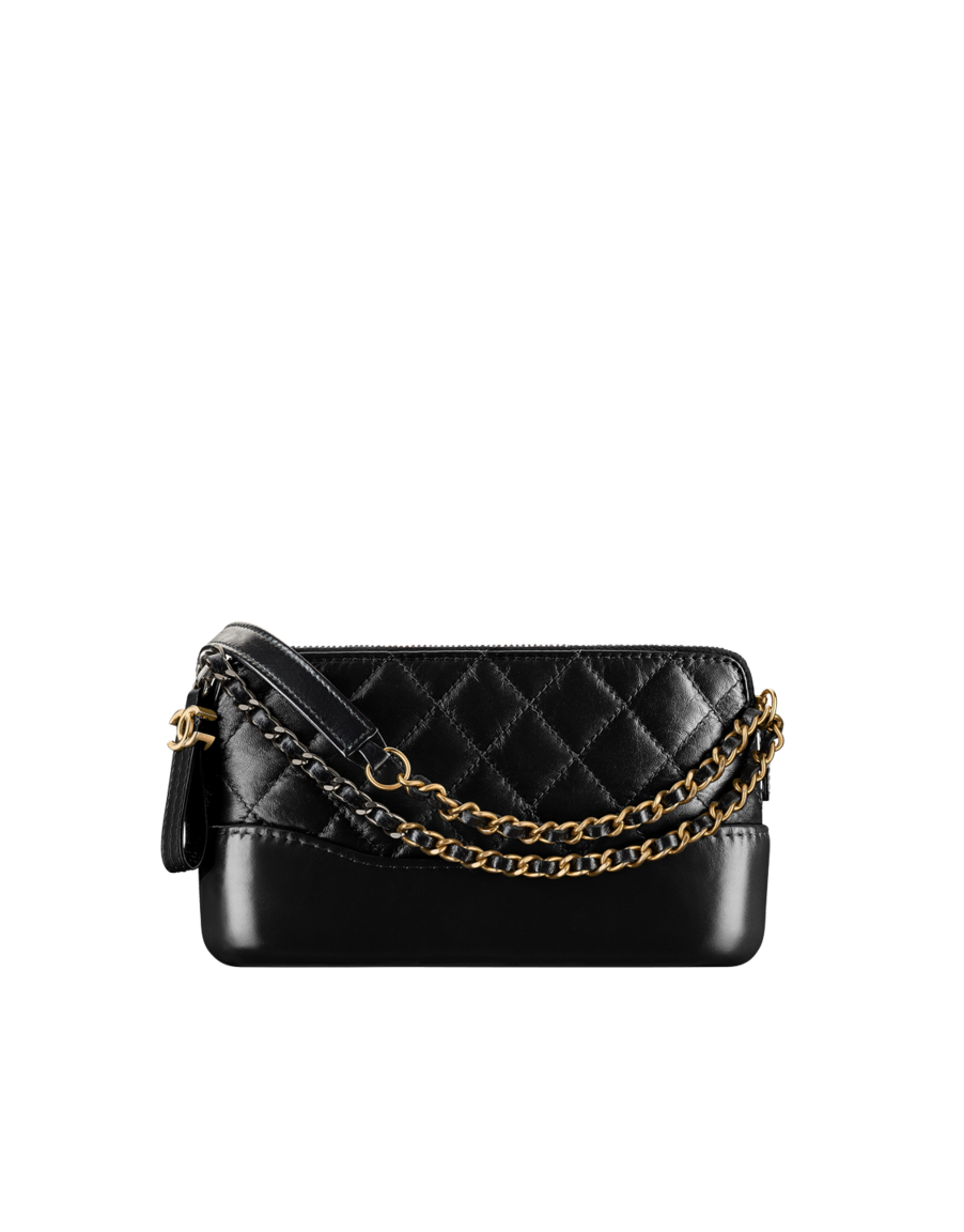 8bfe92183f38 Clutch with chain, aged calfskin, smooth calfskin, silver-tone & gold-tone  metal-black - CHANEL