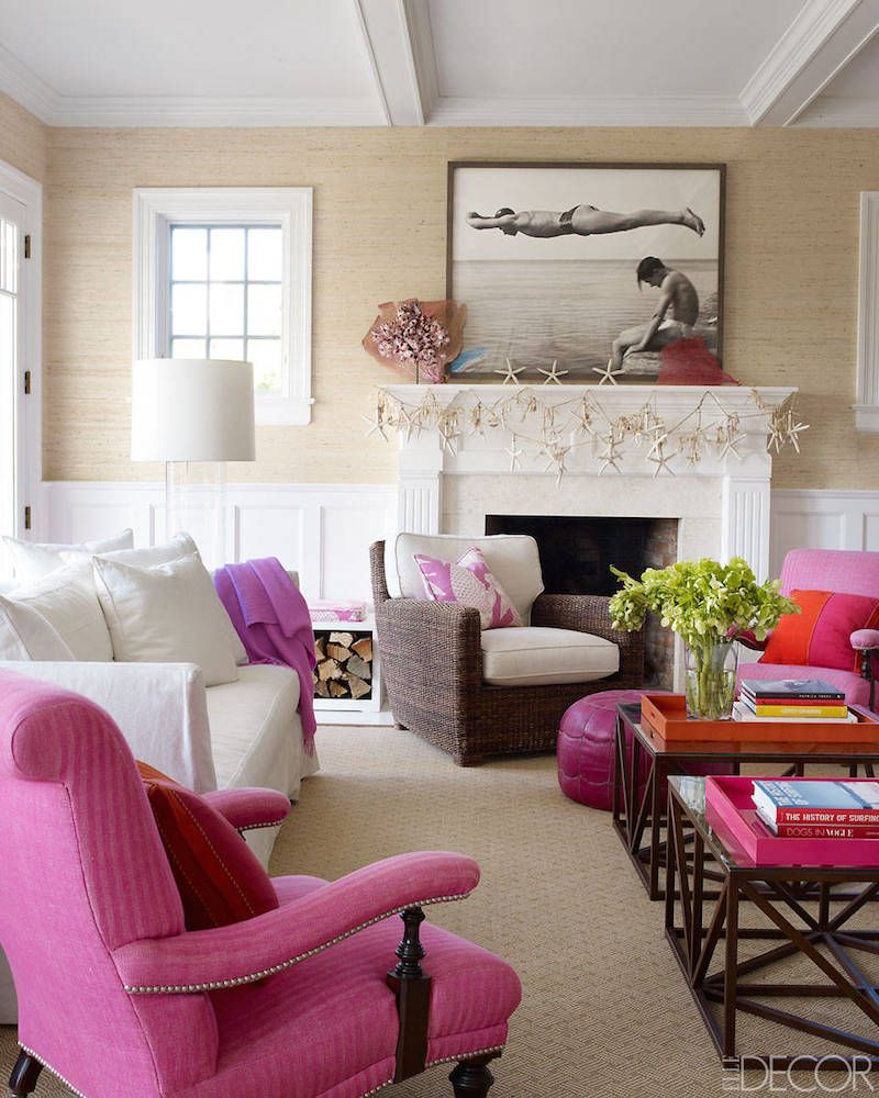Living Single Seagrass Wallpaper Neutral Living Room With Hot Pink Accents House Ideas