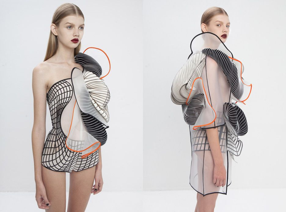 wgsn:Inspired by 3D modelling software glitches, Noa Raviv has designed garments that bring the digital into a physical space.  Classic Greek and Roman sculptures are the starting point and then worked into hi-tech garments.  Noa Raviv