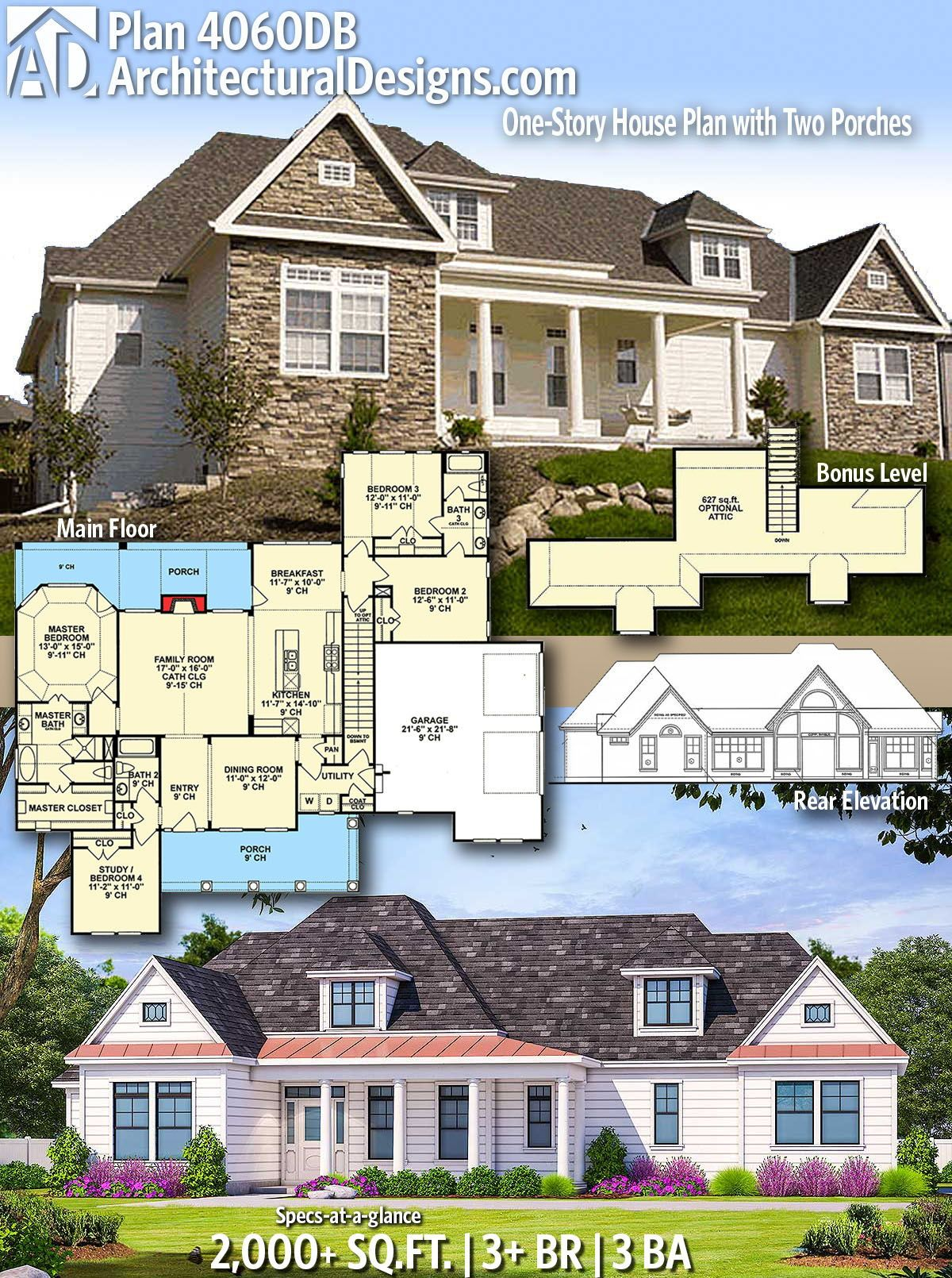 Architectural designs home plan db gives you bedrooms baths and sq ft ready when are where do want to build also one story house with two porches dream homes rh pinterest