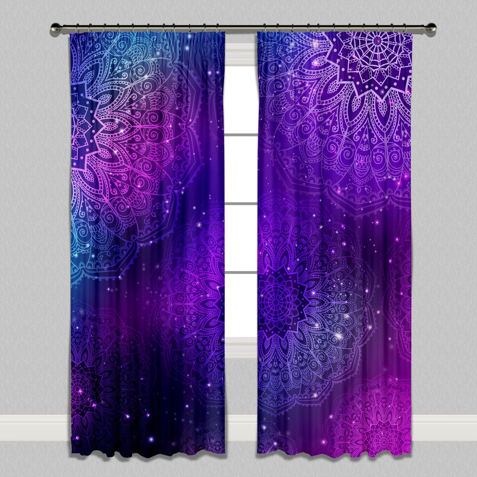 Boho Purple Pink Teal And Blue Mandala Curtains Mandala Curtains Purple Curtains Purple Rooms