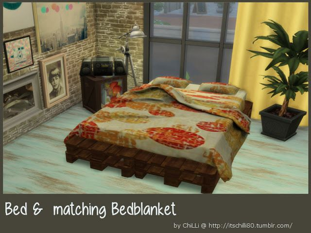 Sims 4 CC's - The Best: Bed & matching Bedblanket by ChiLLis Sims
