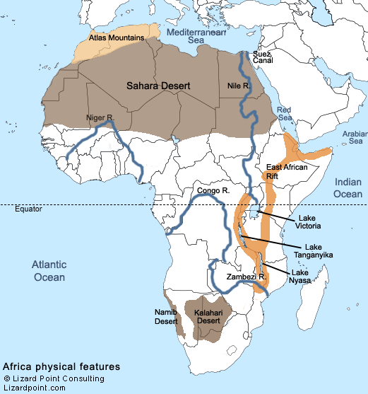 africa map physical features labeled