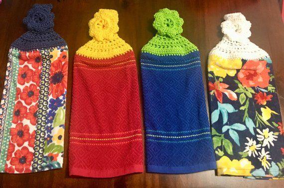 Pioneer woman dish towels/crochet dish towels/dish towel toppers #dishtowels