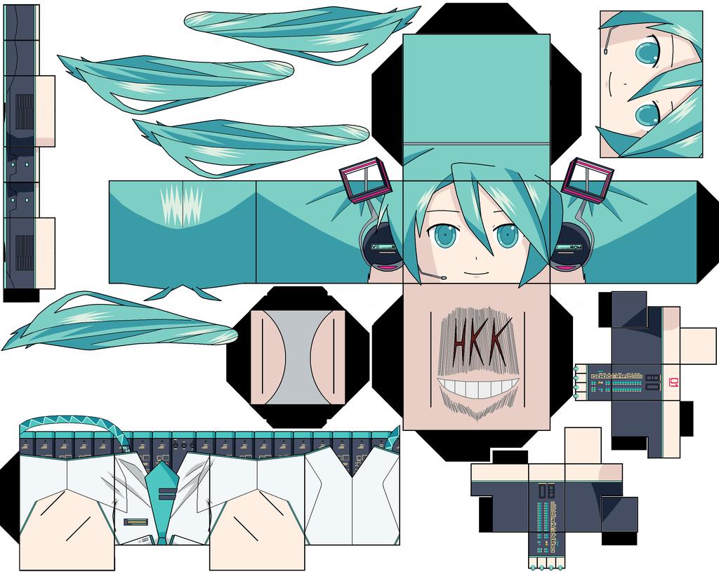 Hatsune Miku v3 by hollowkingking Papercraft Pinterest