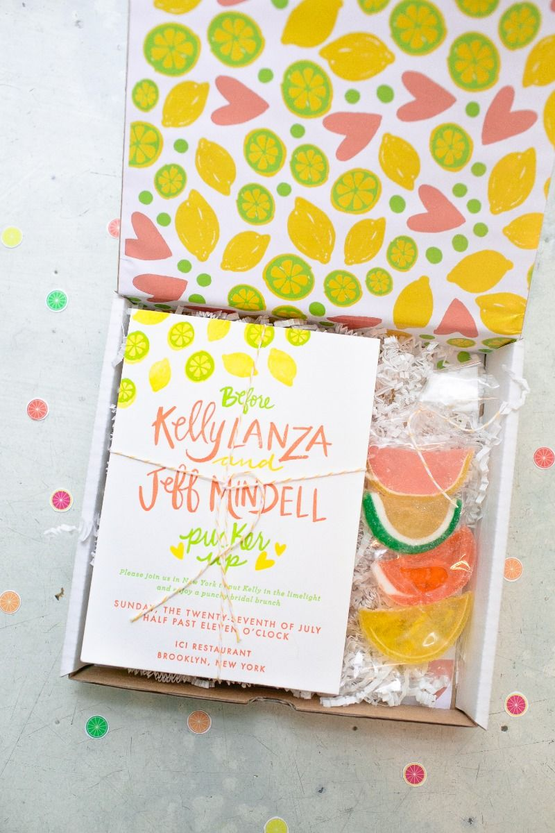 Citrus themed letterpress bridal shower invitation arrived with a citrus themed letterpress bridal shower invitation arrived with a custom bag of candy design by 9th letter press photo by you look lovely lemon filmwisefo Gallery