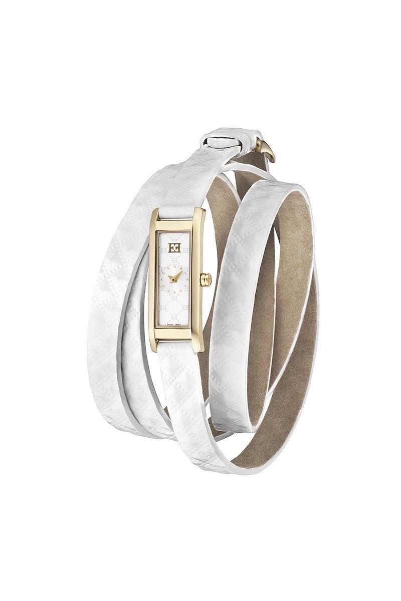 escada women s d ew2930042 sterling silver rose gold dial escada women s d ew2930042 sterling silver rose gold dial white wrap leather strap watch