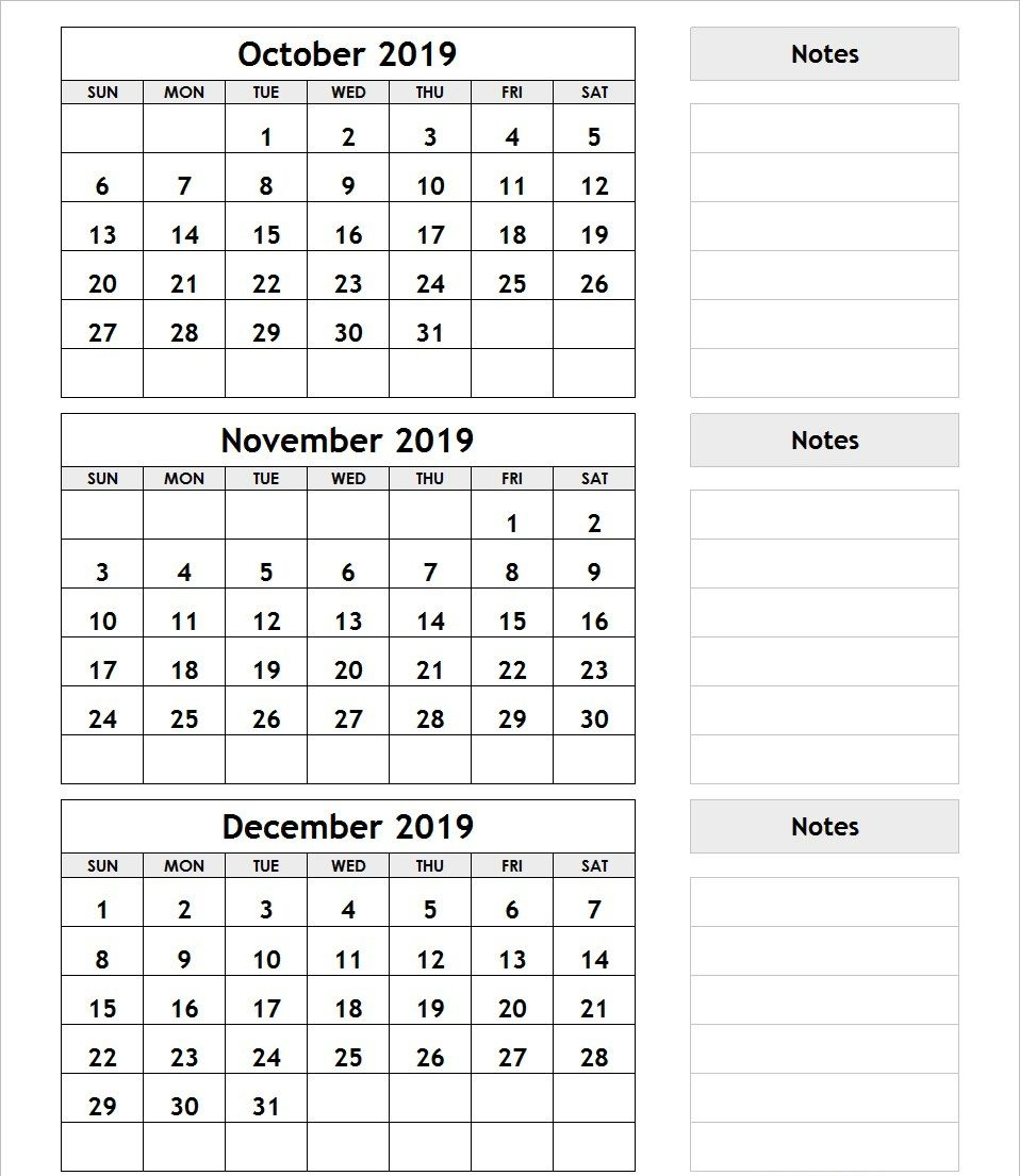 October November December 2019 Calendar Blank Printable Template