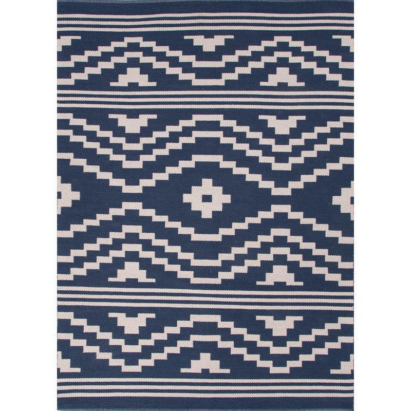 Flat Weave Cotton Rug Midnight Navy And Cloud Cream Rugs