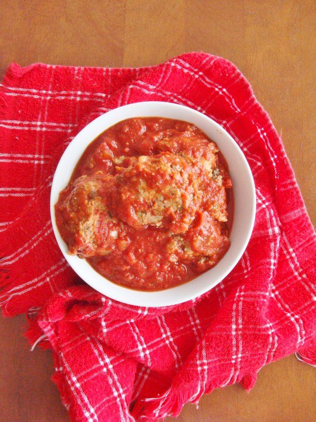 Italian meatballs in homemade tomato sauce.