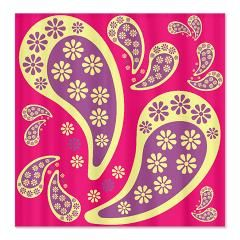 Paisley Modern Purple Pink and Yellow Shower Curta Paisley