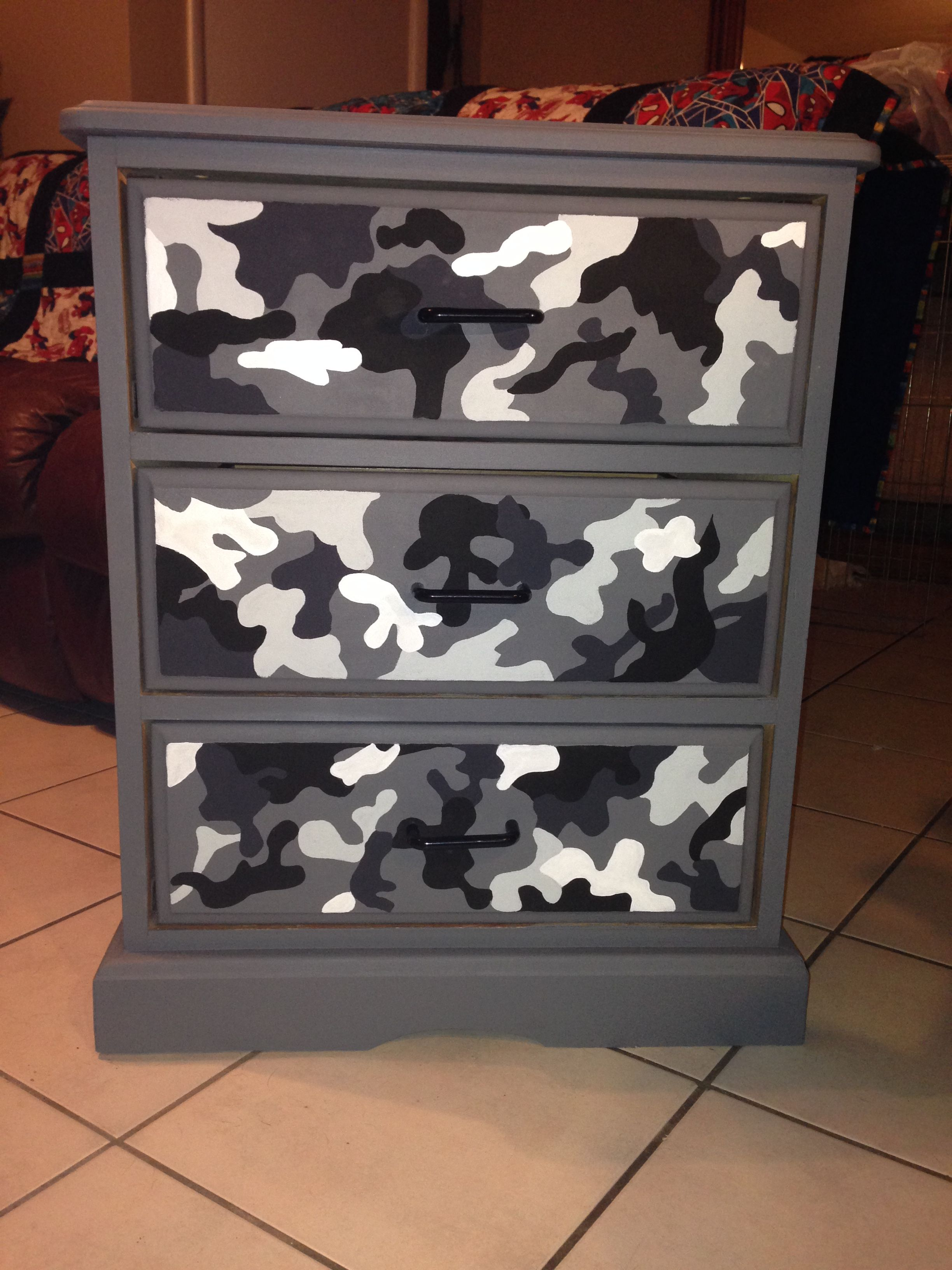 I painted this dresser for my son. He loves camo. I did this ...