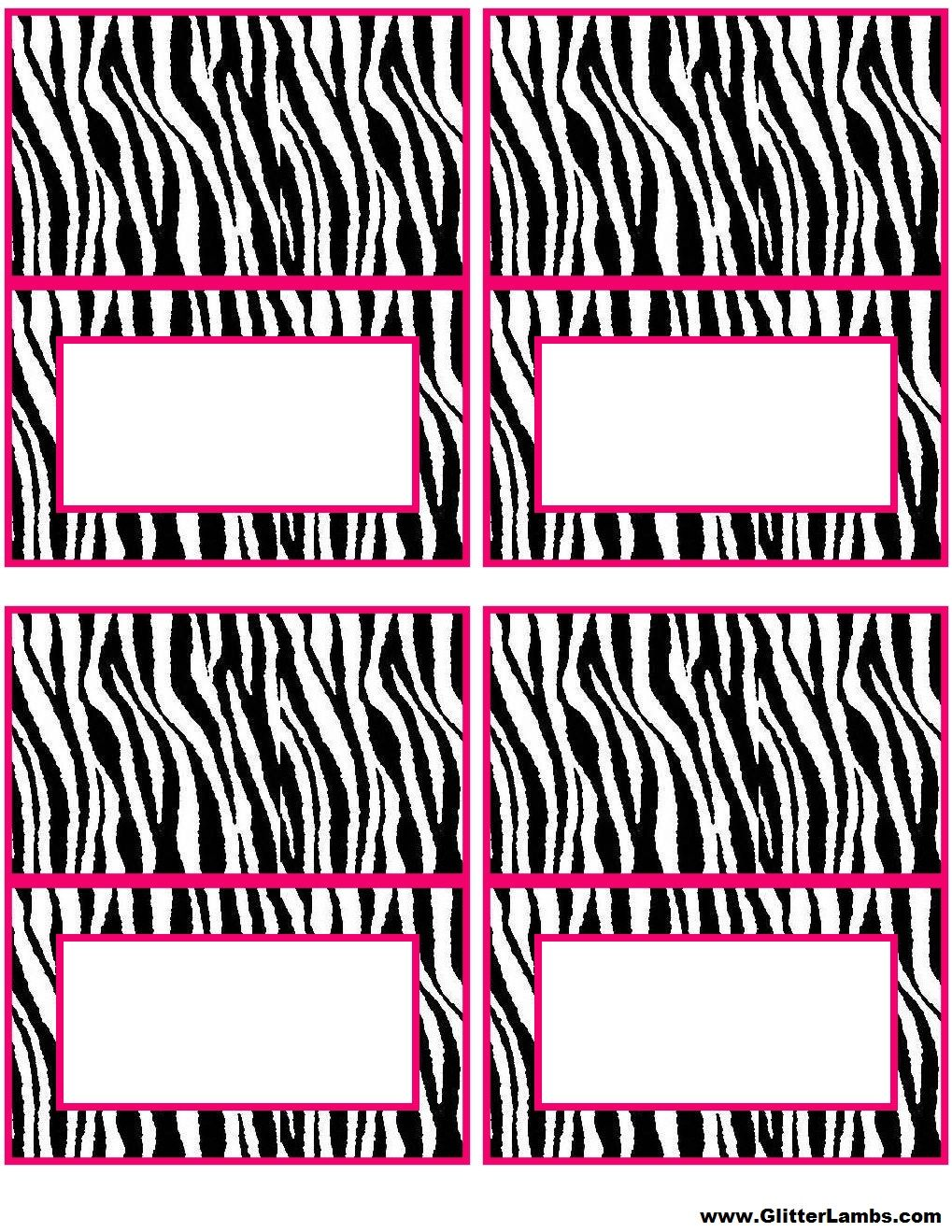 Pink Zebra Food Label Cards And Free Printable Cupcake Topper Templates For A Diy Pink Zebra Birthday P Zebra Birthday Party Zebra Birthday Pink Zebra Birthday