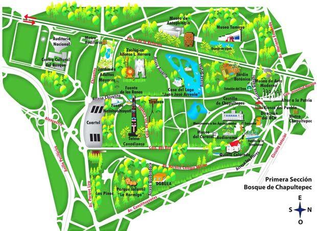 Mapa bosque chapultepec no cidade do méxico mexico city