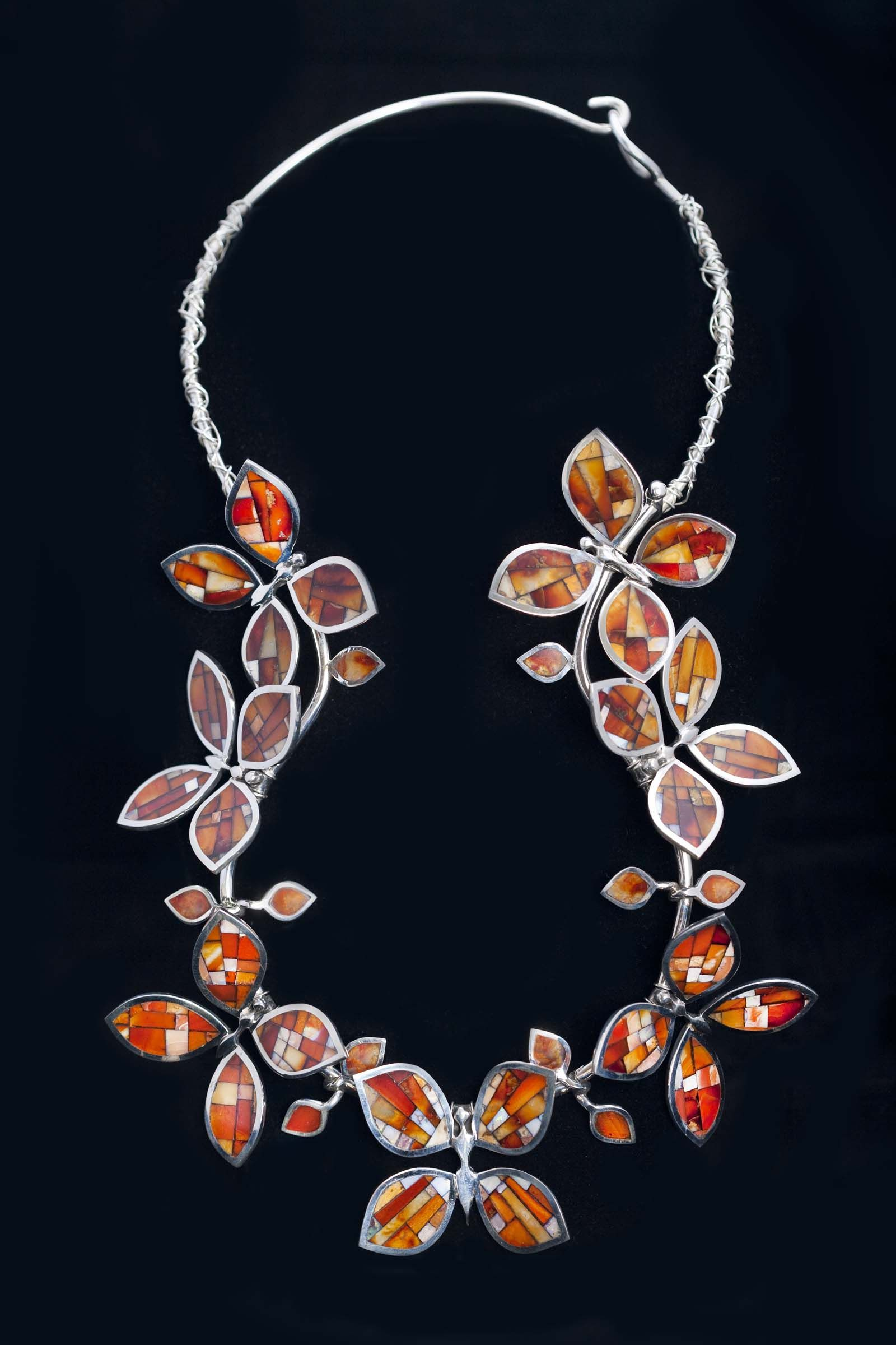 "Necklace | Colin Coonsis (Zuni). ""Spread Your Wings Like Fire"", 2009.  Silver, Mexican fire opal"