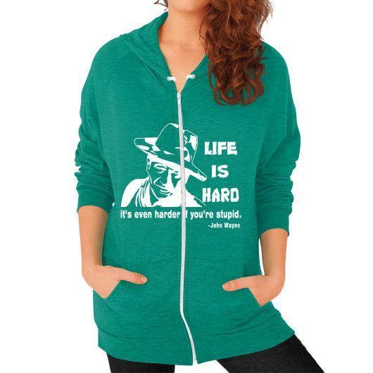 Apparels life is hard Zip Hoodie (on woman)