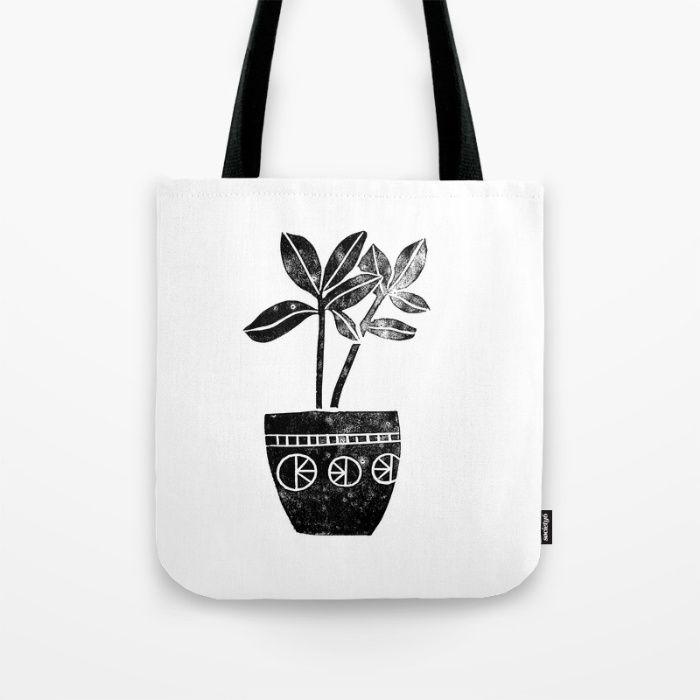 House Plants linocut black and white minimal modern lino print perfect decor piece Tote Bag by Monoo | Society6