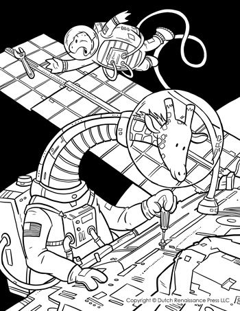 astronaut giraffe fixing the international space station coloring page
