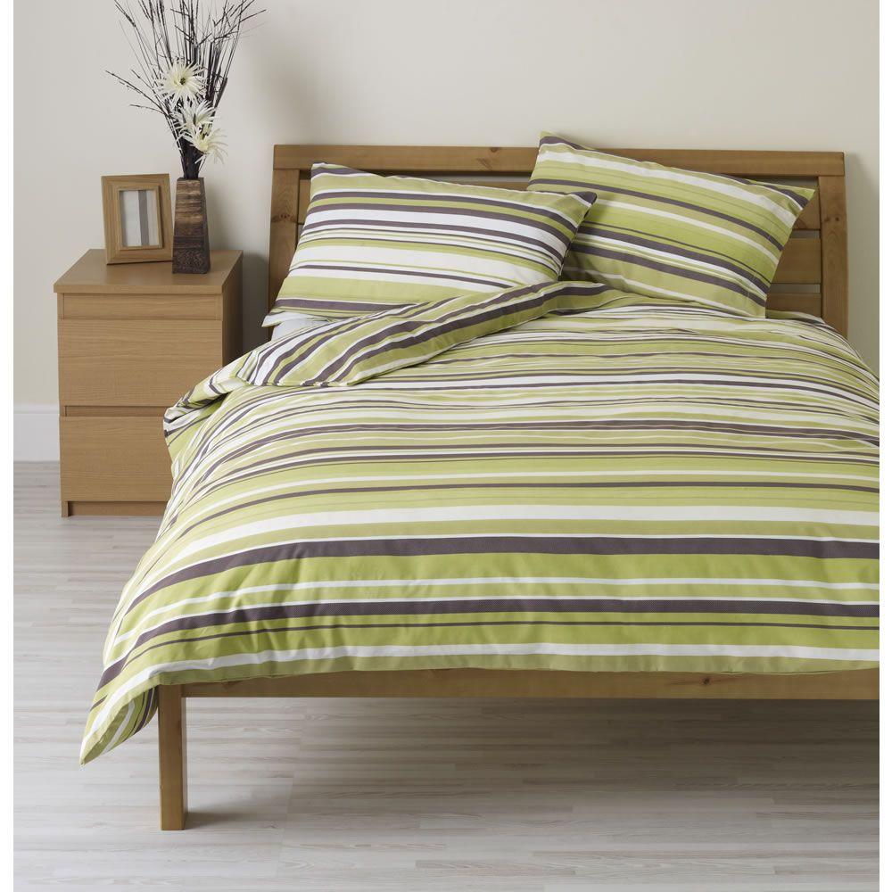 Wilko Duvet Set Double Striped Green Duvet Sets Green Bedding Green Duvet