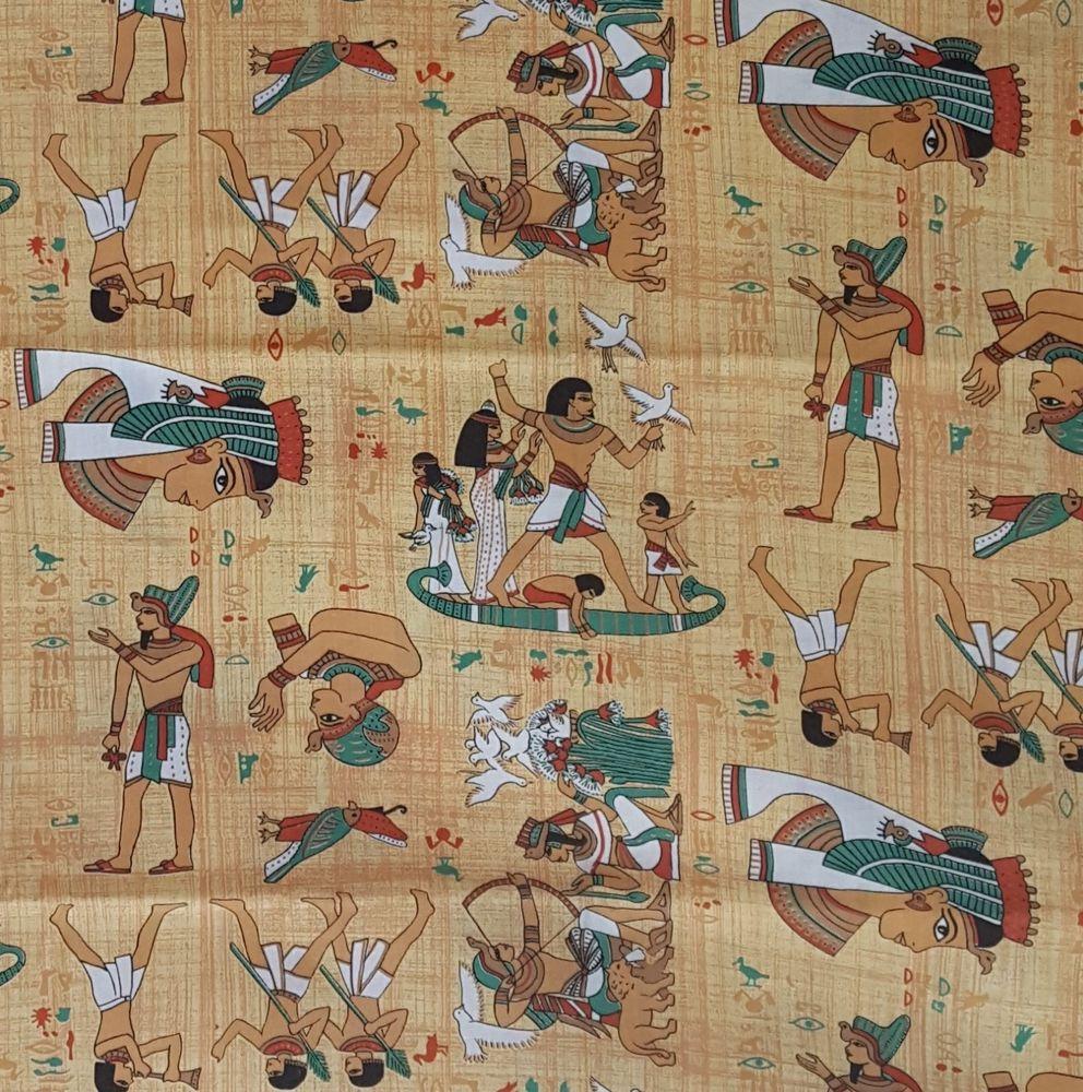 Ancient Egypt Egyptian Print Fabric Cleopatra King Tut Cotton