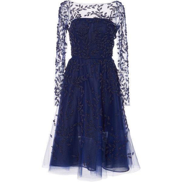 Oscar De La Renta Embellished Tulle Dress 7290 Liked On