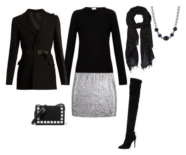 """""""FW - DN - SEQUIN SKIRT, SWEATER, SCARF, JACKET, OTK BOOTS - BLACK, SILVER"""" by laliquemurano on Polyvore featuring .mcma., David Yurman, Yves Saint Laurent, Faliero Sarti, Calvin Klein Collection, Aquazzura and Tomasini"""