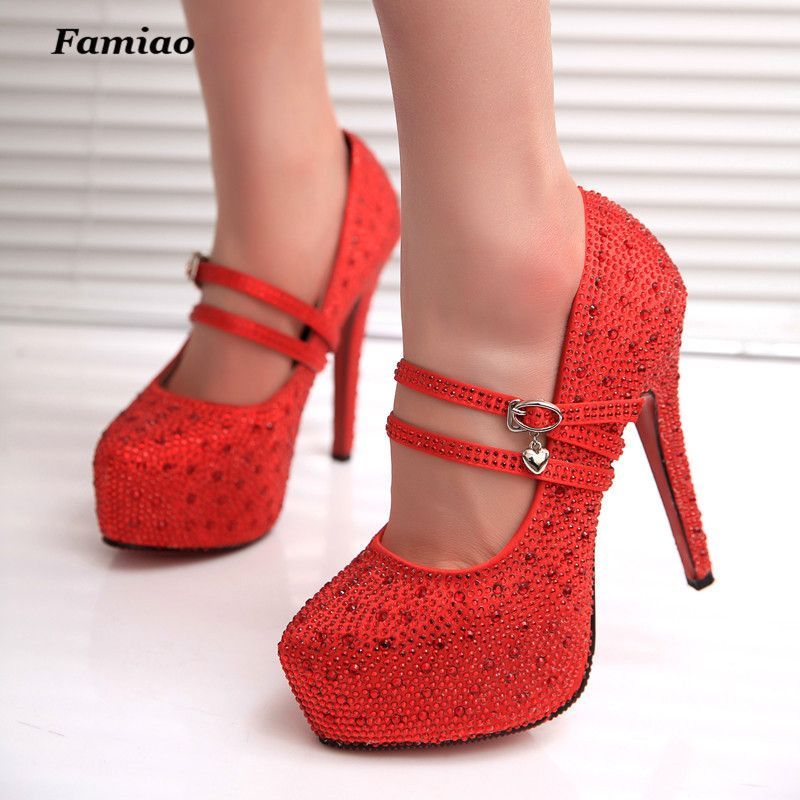 Cheap FAMIAO women high heels prom wedding shoes lady crystal platforms  silver Glitter rhinestone bridal shoes b72ee25d8897