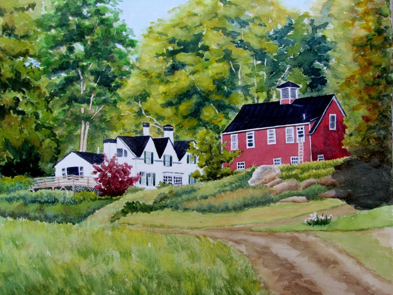 Maine watercolor painting original landscape painting ...