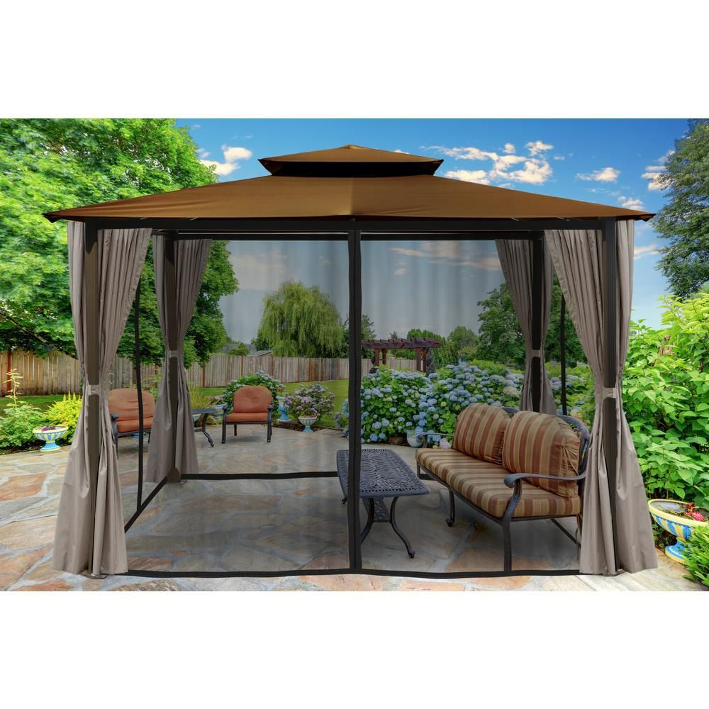 Paragon Outdoor Paragon 10 Ft X 12 Ft Gazebo With Cocoa Top And Privacy Curtains And Mosquito Netting Gazebo Outdoor Gazebos Aluminum Gazebo