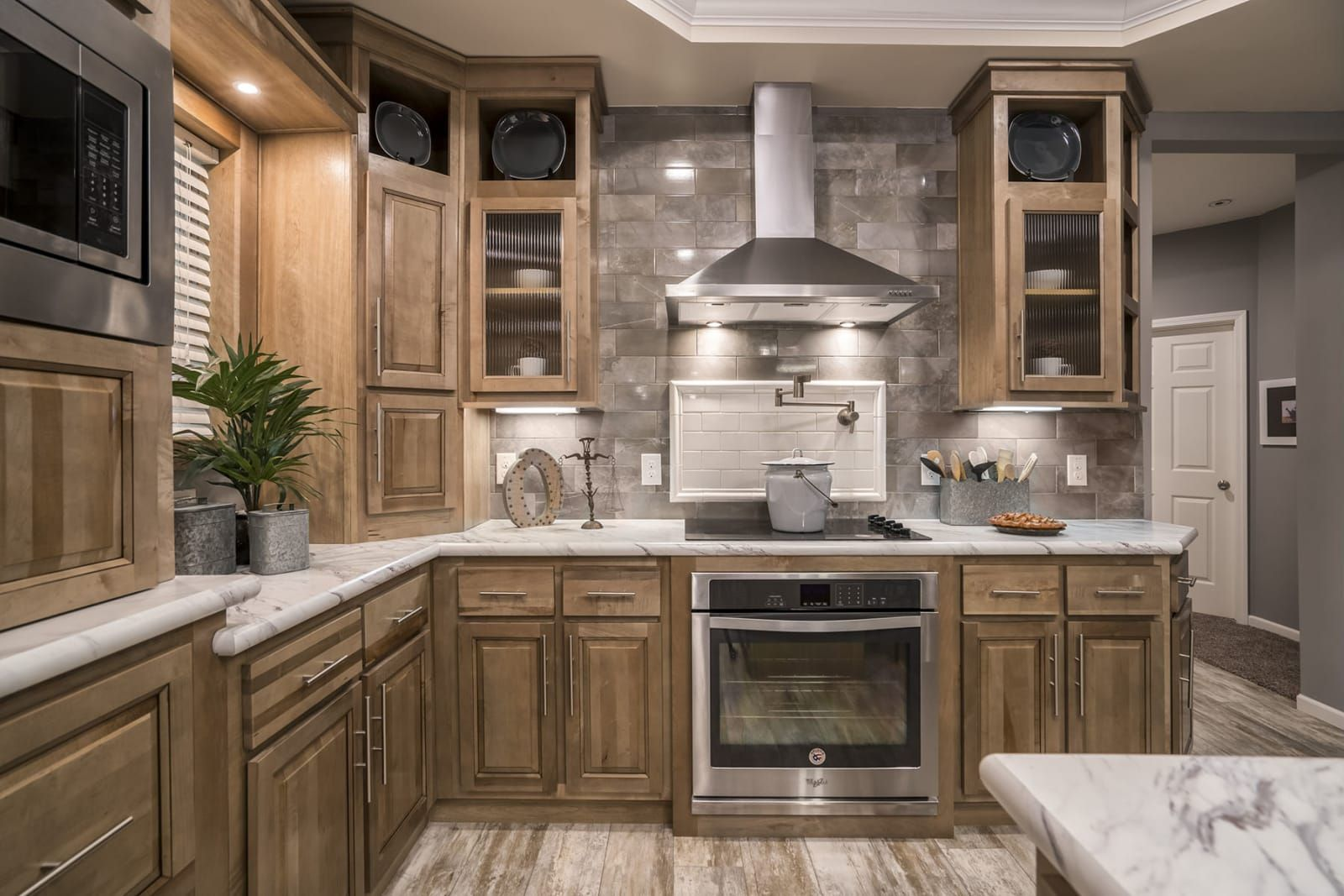 Kitchen With Stainless Steel Range Hood Glass Cooktop Farmhouse Sink Mobile Home Floor Plans House Floor Plans Manufactured Home