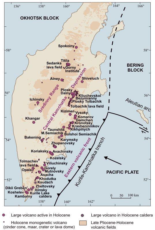 Map Of Active Volcanoes Of Kamchatka Russia Volcanos And - Map active volcanos in us
