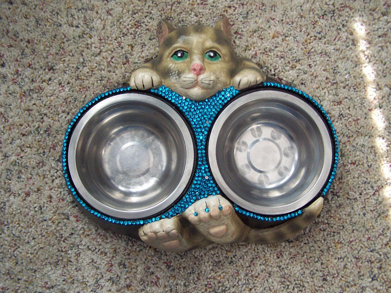Vintage Cat Bowl Bowls Kitten Bowl Cast Iron Cat Holding Their Bowls Rhinestones Aqua Playful The Cat 39 S Meow Kitten Bowls Cat Bowls Vintage Cat
