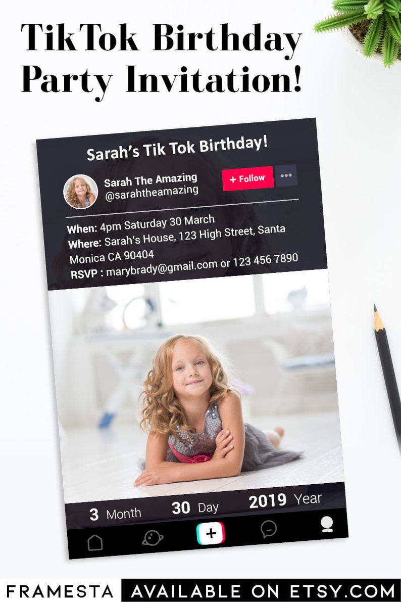 Tik Tok Party Invitation Digital File Only Tiktok Birthday Etsy Party Invitations Invitations Birthday Party Invitations