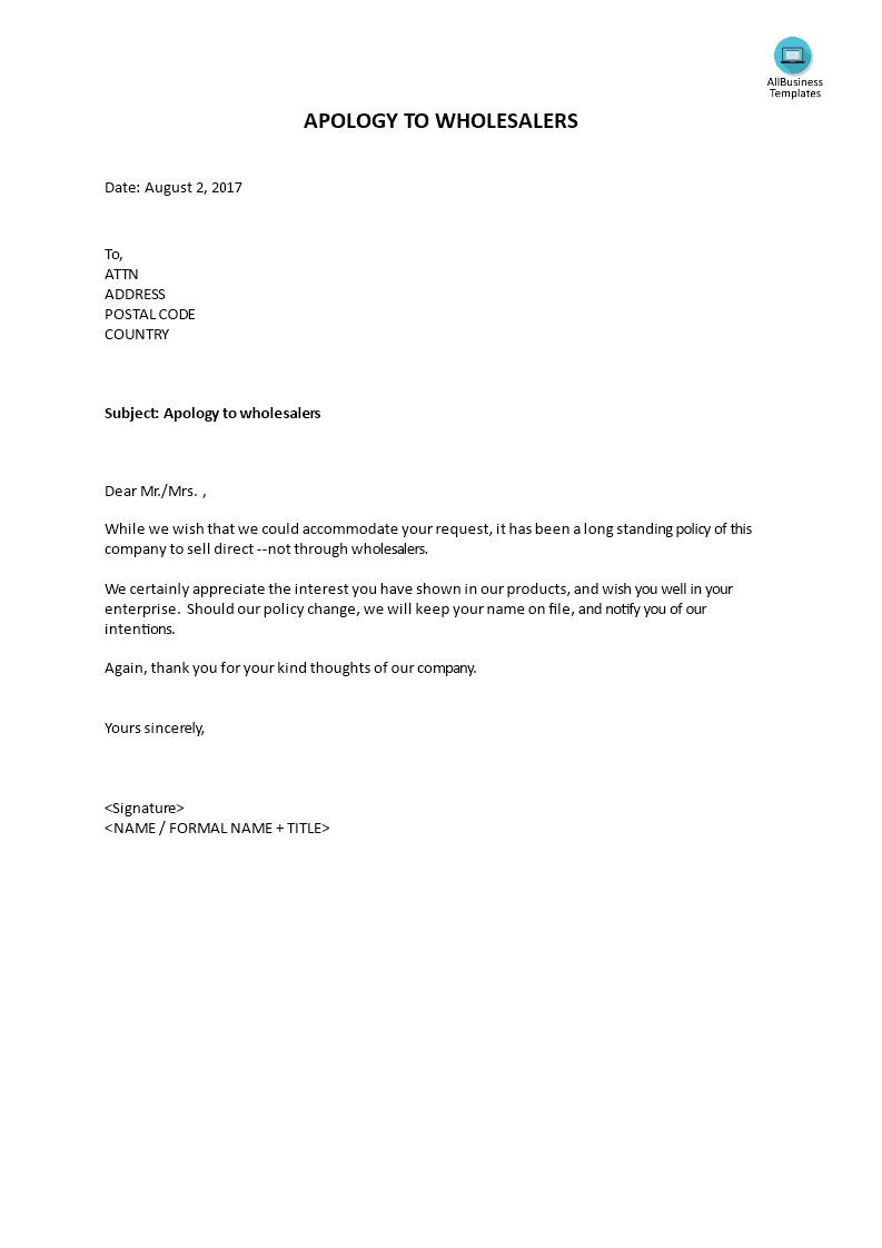 "Example Letter Of Apology Captivating Apology To Wholesalers  Sample Lettercontains The Words ""… Long ."