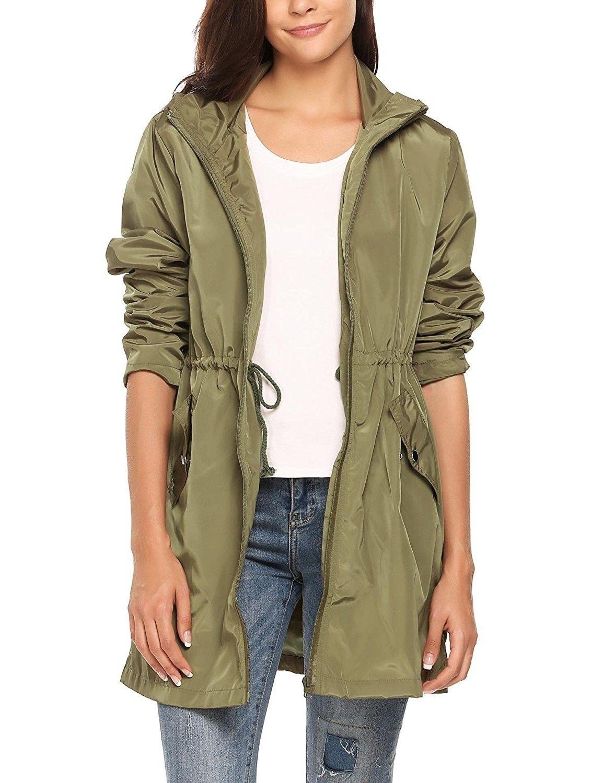 d7eaa0d53ca Women's Clothing, Coats, Jackets & Vests, Trench, Rain & Anoraks, Raincoats,  Women Long Style Waterproof Hooded Raincoat Clothing Rainwear Rain Jacket  Army ...