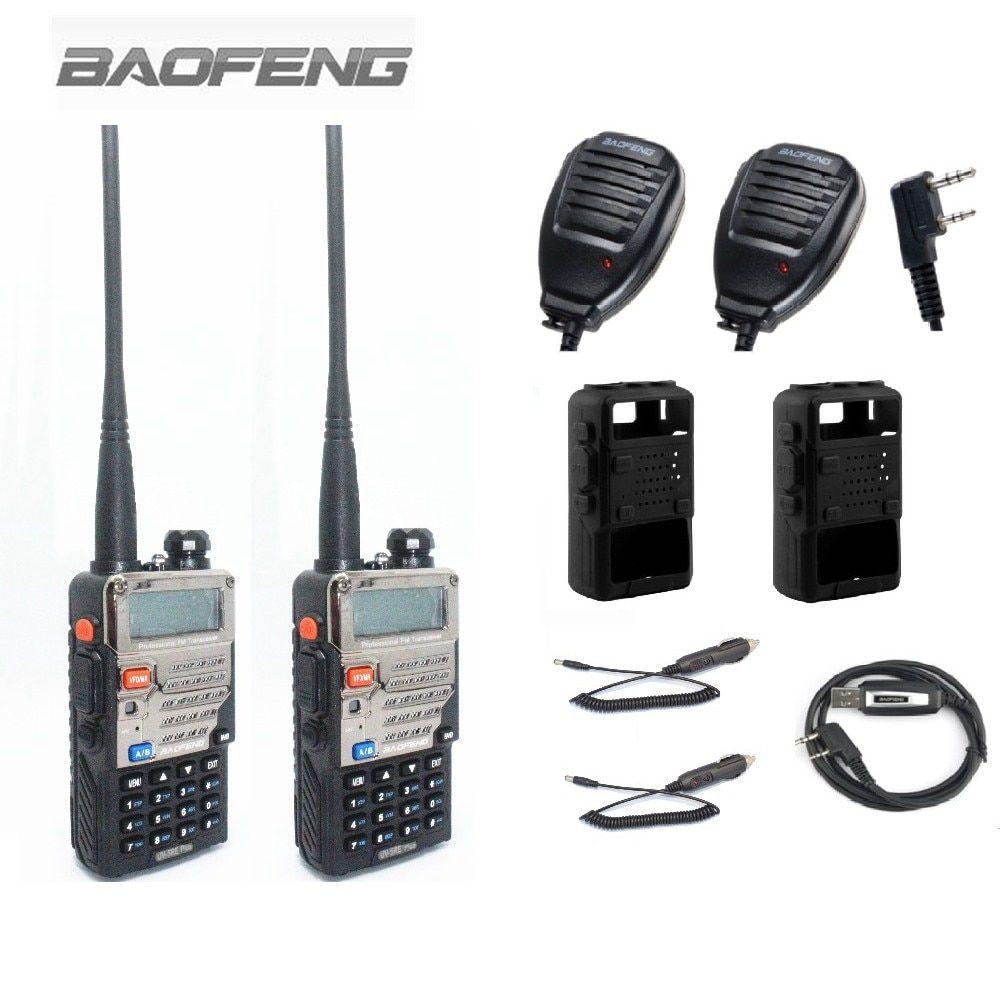 2PCS BAOFENG UV-5RE+Plus Walkie Talkie Two Way Radio+2 Speaker Mic +