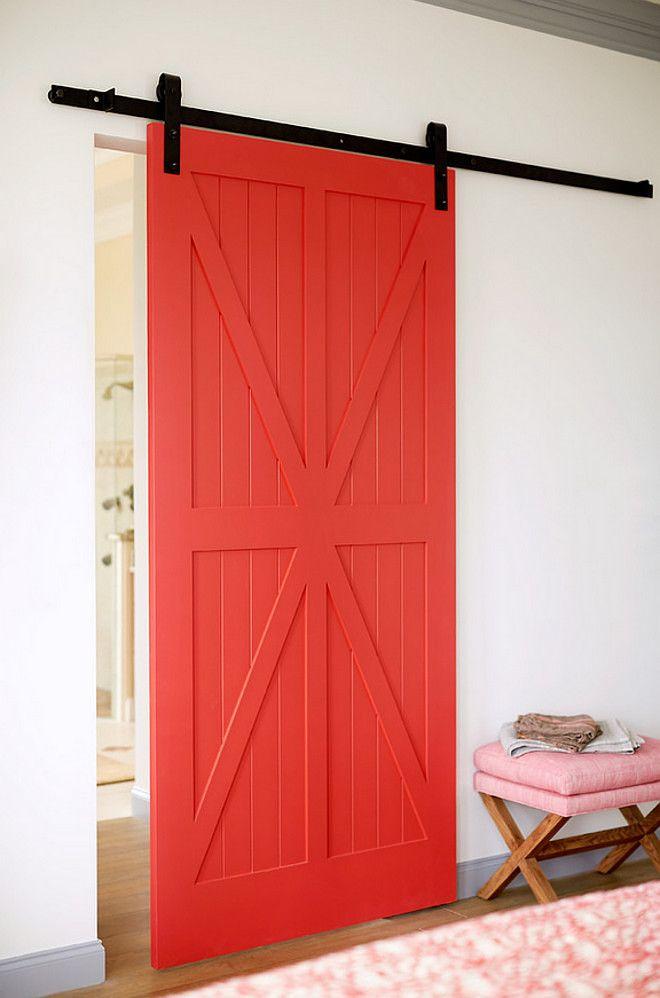 Red Sliding Barn Door red barn door paint color is benjamin moore red parrot 1308